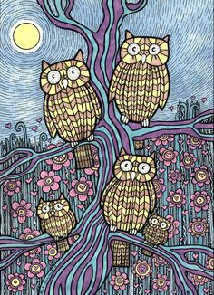 'Owls' Outing' by Anita Inverarity