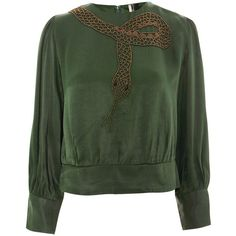 Topshop Petite Snake Placement Top (465 DKK) ❤ liked on Polyvore featuring tops, green, retro tops, topshop tops, green top and petite tops