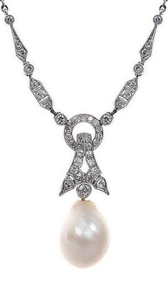 An Art Deco natural pearl and diamond necklace, featuring a natural drop shaped pearl measuring 11.4mm by 15.0mm, suspended from a geometric bale and articulated links set with single cut diamonds, on an integral chain, in platinum. #ArtDeco #necklace #pendant