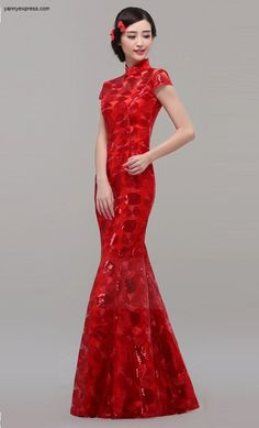 Red Chinese Wedding Qipao Mermaid Sequin Illusion Gown