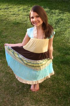 DIY - Womans skirt, turned Little Girl beautiful dress!!!  Joy lives in dresses during the summer - can't wait!