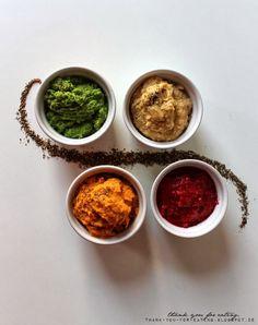 Hummus / Pea-Pesto / Sweet Potatoe Hummus / Raspberry Curd