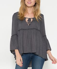 Love this Morning Apple Charcoal Tie-Neck Bell-Sleeve Top by Morning Apple on #zulily! #zulilyfinds