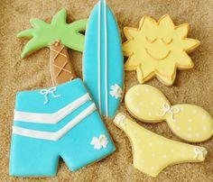 summer fun cookies       from http://carriescookies.com Blue, yellow, surf board, bikini, shorts, Sun, Palm tree