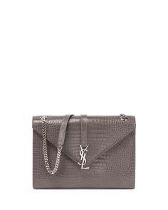 Saint Laurent Kate Monogram YSL Crocodile-Embossed Envelope Chain Shoulder  Bag d2df3faa2550c