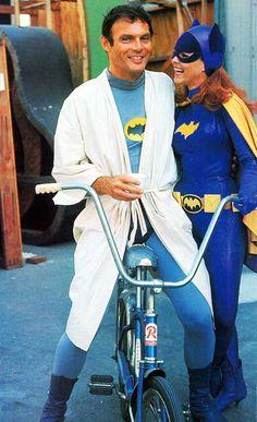 Adam West and Yvonne Craig on the set of Batman, 1967.