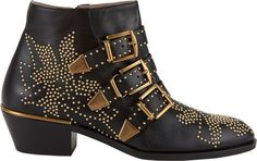 These black booties are so great with with gold stud detail. Chloé Women's Suzanna Ankle Boots-Black