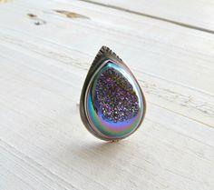 Gemstone ring druzy ring sterling silver ring by BLUEskyBLACKbird, $80.00