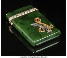 A Fabergé 14K Vari-Color Gold, Diamond, Spinach Jade, and Enamel Cigarette Case, workmaster's marks for Henrik Wigstrom, St. Petersburg, Russia, circa 1908-1917