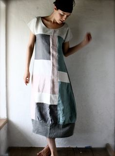 Linen Tunic dress in patchwork linen grey and white by larimeloom. front