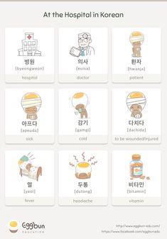 the Hospital in Korean Chat to Learn Korean with Eggbun! Learn To Speak Korean, Learn Basic Korean, Korean Slang, Korean Phrases, Korean Words Learning, Korean Language Learning, Learning Languages Tips, Korean English, Learn Hangul