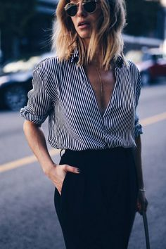 striped blouse, gold lariat necklace | The August Diaries