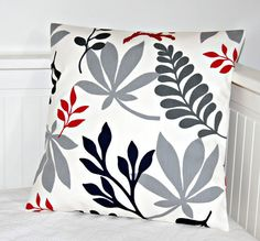 red grey black navy leaves cushion cover, pillow cover 16 inch