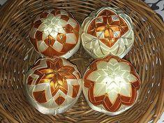 Melinda35 / vianočné patchworkové gule smotanovo-oranžové so zlatým lemom