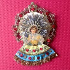 Vintage Look Christmas Ornament -German Scrap Girl W/Blue And Yellow Skirt, German Dresdens,Vintage Gold Braid,German TInsel, Spun Glass