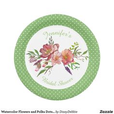 Watercolor Flowers and Polka Dots Paper Plate