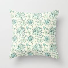 Watercolor Vintage Flowers Pattern Throw Pillow by motonika - $20.00
