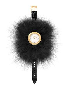 36mm Fendi My Way Watch w/Removable Fur Glamy, Black