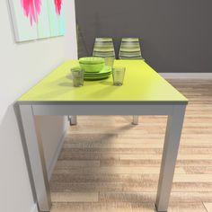mesa con encimera en material porcelánico Techlam