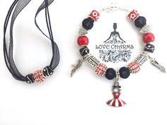 $39.99 WITH FREE SHIPPING!!  Lady Luck Love Charms Bracelet and Matching Necklace Red and Black Enamel Charms with Enamel Dress Pendant | Love Charms USA