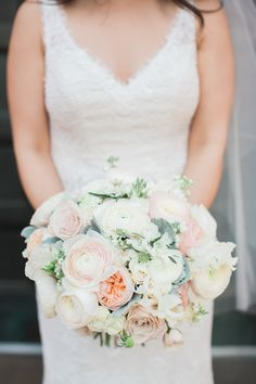 Garden rose, peony and ranunculus wedding bouquet: Photography : Michael + Anna Costa Photography Read More on SMP: http://www.stylemepretty.com/california-weddings/los-angeles/2017/01/19/garden-wedding-downtown-la/