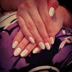 #white#gelish#ovalnails#with#silver#rhinestones