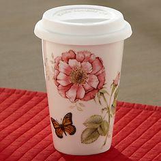 Butterfly Meadow® Travel Mug by Lenox  http://www.lenox.com/dining/dinnerware/casual-dinnerware/lenox/butterfly-meadow-174-travel-mug-by-lenox?R=25319&cawelaid=1811795113&code=96206&gclid=CJGK9aG8wrwCFW9p7AodH1sAvQ&cagpspn=dyn&cm_mmc=ChannelAdvisor-_-ComparisonShoppingEngine-_-Google-_-Generic