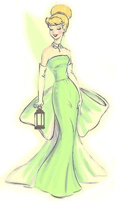 disney princess fashion sketch. I like the fact that her dress is reimagined in green instead of silver or blue (which is not canon!)