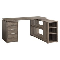 "This hollow-core ""L"" shaped computer desk will be a stunning focal point in your contemporary home office. This simple and stylish piece features clean sharp lines, in a rich dark taupe reclaimed wood-look finish. Home Office, Office Desk, Bedroom Office, Teen Bedroom, Bedroom Ideas, Bedroom Decor, Dyi, L Shaped Desk, Desk With Drawers"