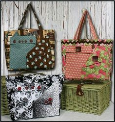 Pockets-A-Plenty - Tote Pattern + Free Patch Pockets Video Tutorial.
