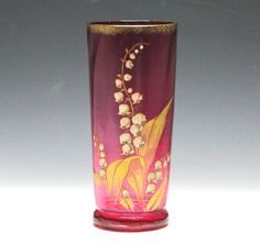 Moser Art Glass Vase c1900 Cranberry hand blown glass Hand painted enamel flower