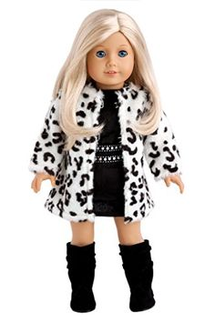 Glamour Girl - Snow Leopard Faux Fur Coat with Black Velvet Dress with Black Boots - 18 Inch American Girl Doll Clothes