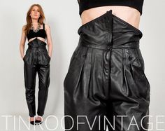 LEATHER high waisted Pants S/M trousers vintage by TinRoofVintage