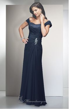 2015 Strapless Zipper Chiffon Cap Sleeves Floor Length Navy Mother of the Bride Dresses Alyce Jean MBD29300