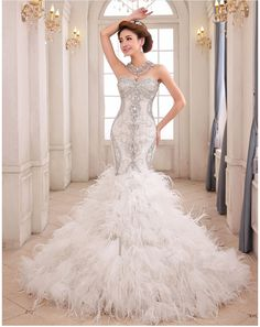 mermaid wedding dresses with feathers - Google Search