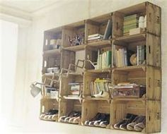 DIY Furniture - DIY Inspired - interesting idea... I think I'd do one row and use the top as shelving too