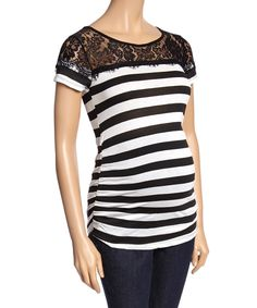 Loving this Black & White Stripe Lace Maternity Top on #zulily! #zulilyfinds