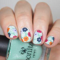 Wondrously Polished: The Digital Dozen does Floral - Day 2: Pinterest Wallpaper Floral Nail Art