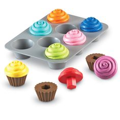 Learn colors and shapes with delicious cupcakes with the Learning Resources Smart Snacks Shape Sorting Cupcakes. Develop color and shape identification as you put together the cupcakes and place them in the pan by matching the shapes. Pull Apart Cupcakes, Mini Cupcakes, Learning Toys, Learning Resources, Preschool Learning, Autism Resources, Baby Learning, Smart Snacks, Learning Styles