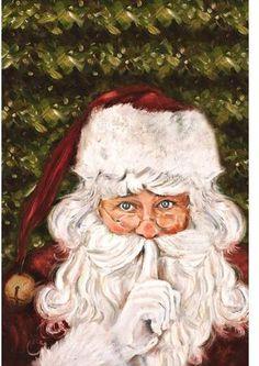 Secret Santa Canvas Art - Patricia Pinto x Father Christmas, Santa Christmas, Vintage Christmas, Christmas Ideas, Christmas Decor, Victorian Christmas, Christmas Wood, Christmas Ornament, Holiday Ideas