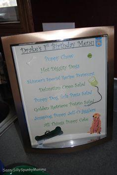Dog party menu
