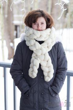 c7e05e5ead3505 Chunky KNIT scarf Chain scarf Merino wool Giant Knit by Becozi Giant  Stitch