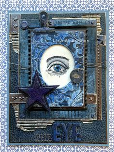 I've used the the eye stamp from the stamp set Cadaverous by Tim Holtz to make this card. Distress Oxides, Distress Ink, Tim Holtz Stamps, Art Journal Pages, Junk Journal, Big Letters, Ranger Ink, Metal Stars, Distressed Painting