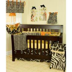 Sumba Jungle 4 Piece Crib Bedding Set, Gold/Brown/Orange/Light Brown