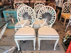 Set of 4 Metal PALM FROND Chairs for the Patio :)