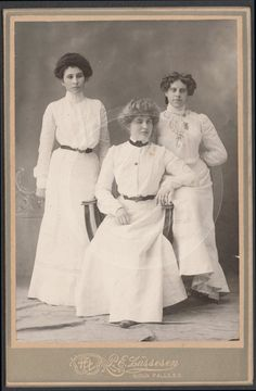 EARLY 1900S YOUNG MISSES DRESSED IN WHITE: TWO w GIBSON GIRL HAIRSTYLES