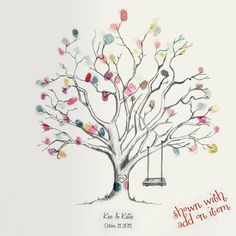 Printable Hand-Drawn Wedding Fingerprint Tree Guestbook (PDF) by CardsnLetters Wedding Fingerprint Tree, Datum Tattoo, Thumbprint Tree, Tree Templates, Printable Templates, Celtic Tree, Camping Crafts, Tree Wedding, Tree Crafts