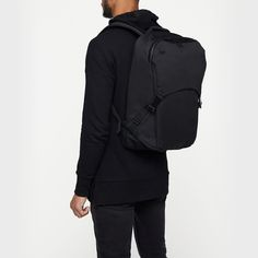 This sleek backpack is your go-to for urban expeditions or quick turnaround work trips. There's all you need to move and work comfortably and efficiently: a generous main compartment with a hooded zip for additional security and a internal padded lapt Black Backpack, Travel Backpack, Travel Bags, Macbook Pro Size, Melbourne Laneways, Work Bags, Work Travel, Small Bags, Laptop Sleeves