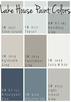 The Best Lake House Paint Colors - calming blue and gray tones that all coordinate for a seamless color pallet for a lake home.