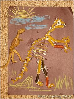 Pasta dinosaur art!